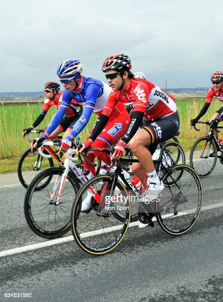 Tony Gallopin of Lotto Soudal and Arthur Vichot of Fdj during the stage 1 of the Etoile of Besseges on February 1 2017 in Beaucaire France