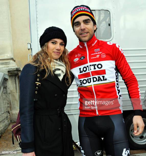 Tony Gallopin of Lotto Soudal and his wife Marion Rousse during the stage 5 of the Etoile of Besseges from Ales to Ales on February 5th 2017 in Ales...