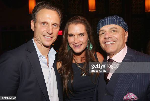 Tony Goldwyn Brooke Shields and Joe Pantoliano pose at The Second Stage Theater 38th Anniversary Gala honoring David Rockwell at TAO Downtown on May...
