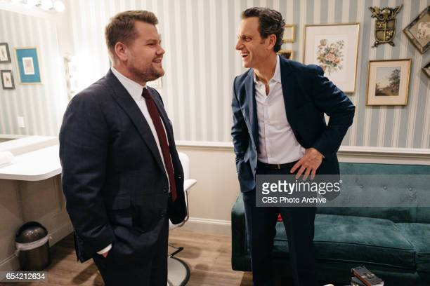 Tony Goldwyn chats in the green room with James Corden during 'The Late Late Show with James Corden' Wednesday March 15 2017 On The CBS Television...