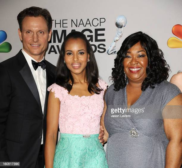 Tony Goldwyn Kerry Washington and Shonda Rhimes pose in the press room at the 44th NAACP Image Awards at The Shrine Auditorium on February 1 2013 in...
