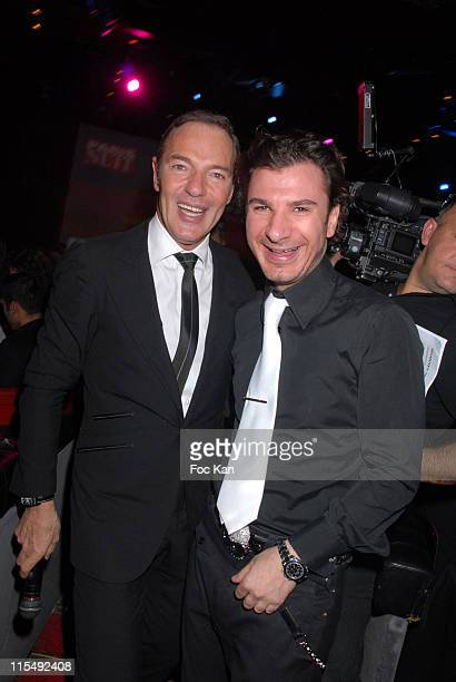 Tony Gomez and Michael Youn attend the Trophees de La Nuit 2007 Ceremony Dinner Party at the Lido Cabaret on November19 2007 in Paris France