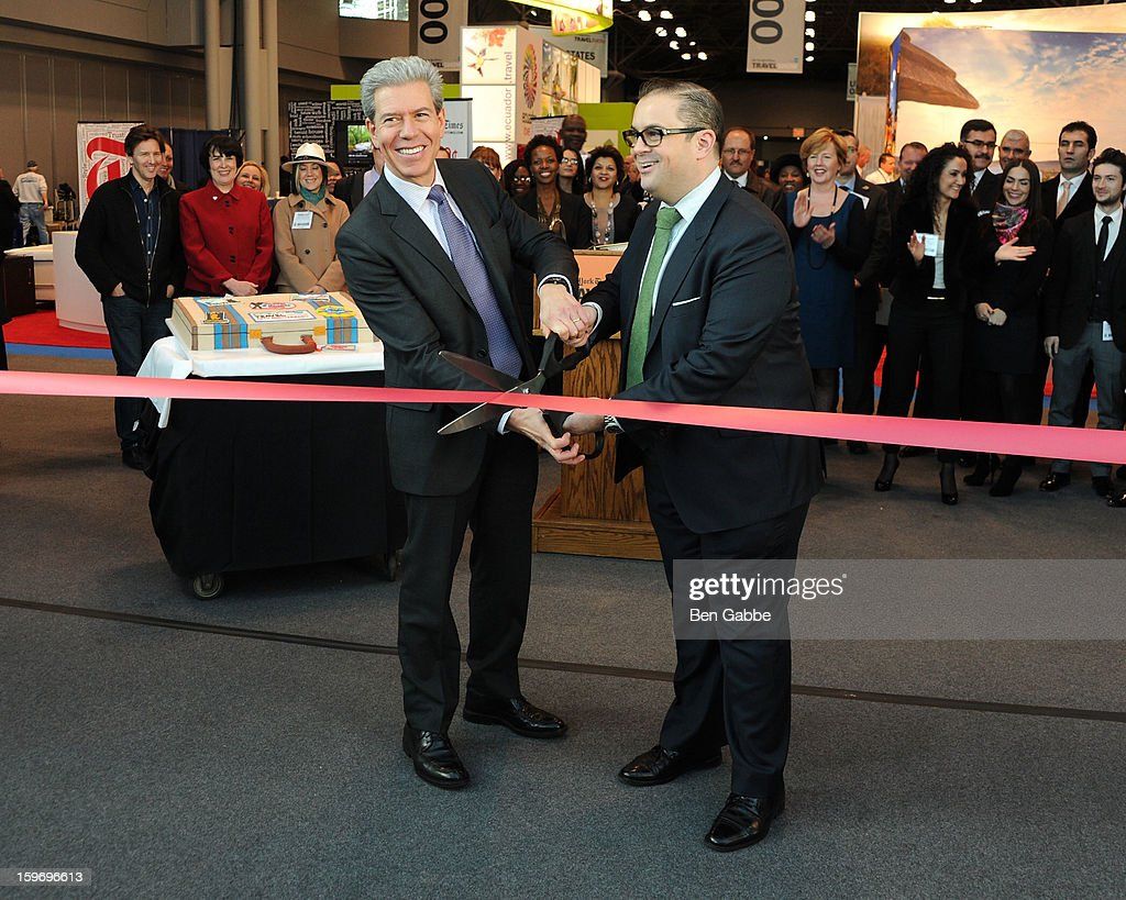 Tony Gonchar and Seth Rogin attend The 10th Annual New York Times Travel Show Ribbon Cutting And Preview at Javits Center on January 18, 2013 in New York City.