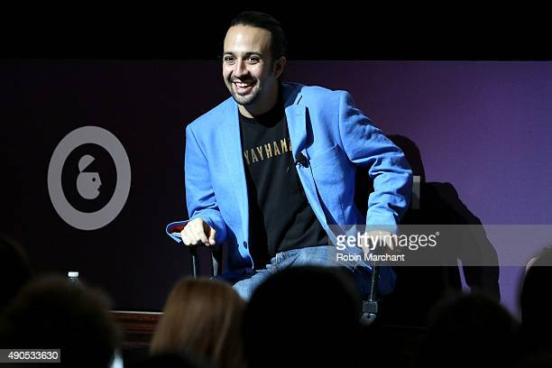 Tony Grammy and Emmy award winning American actor and composer LinManuel Miranda speaks onstage at the LinManuel Miranda Live panel during...