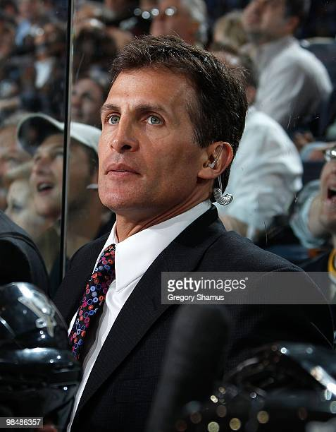 Tony Granato assistant coach of the Pittsburgh Penguins looks on during game action against the New York Islanders on April 8 2010 at the Mellon...