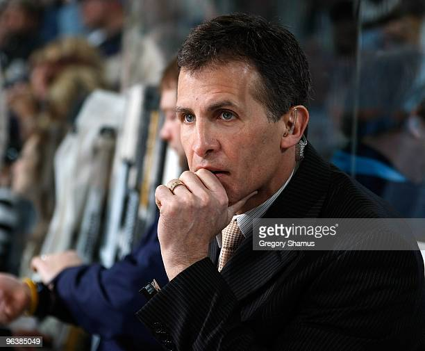 Tony Granato assistant coach of the Pittsburgh Penguins looks on against the Buffalo Sabres on February 1 2010 at Mellon Arena in Pittsburgh...
