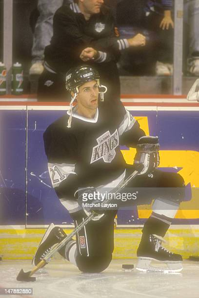 Tony Granato of the Los Angeles Kings looks on during warmups of a hockey game against the Washington Capitals on November 2 1990 at the USAir Arena...