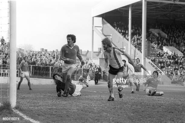 Tony Grealish puts Luton Town 20 up during a scramble in the Charlton Athletic goalmouth during the League Division Two encounter at The Valley The...