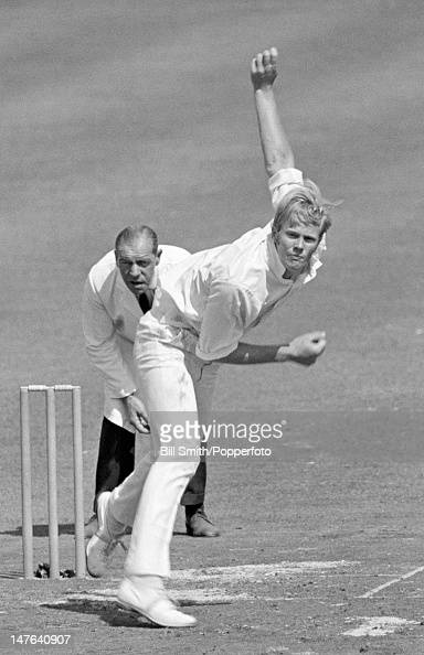 Tony Greig bowling for Sussex during their Gillette Cup SemiFinal against Derbyshire at Chesterfield 30th July 1969 The umpire is Harry Mellows...
