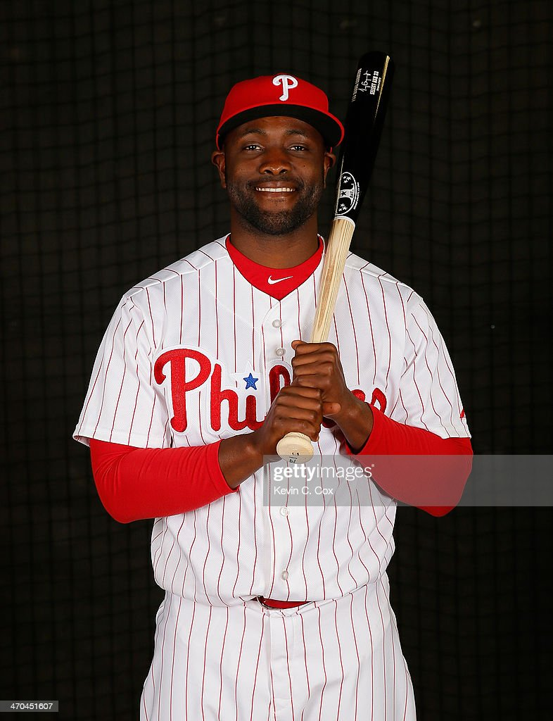 <a gi-track='captionPersonalityLinkClicked' href=/galleries/search?phrase=Tony+Gwynn+Jr.&family=editorial&specificpeople=206941 ng-click='$event.stopPropagation()'>Tony Gwynn Jr.</a> #19 of the Philadelphia Phillies poses for a portrait on February 19, 2014 at Bright House Field in Clearwater, Florida.