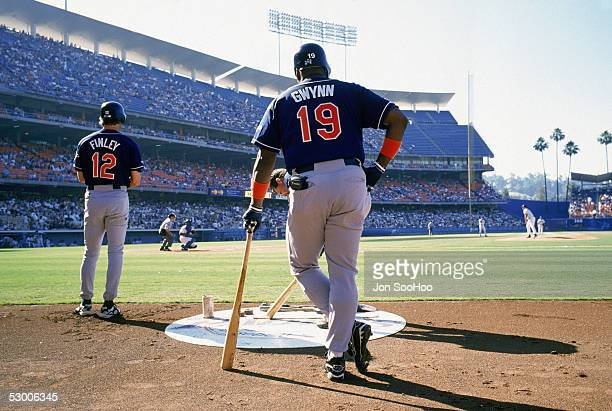 Tony Gwynn of the San Diego Padres stands in the batter's circle during a game in the 1998 season against the Los Angeles Dodgers at Dodger Stadium...