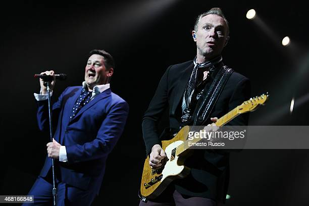 Tony Hadley and Gary Kemp perform during the Soulboys of the Western World Tour at Palalottomatica on March 30 2015 in Rome Italy