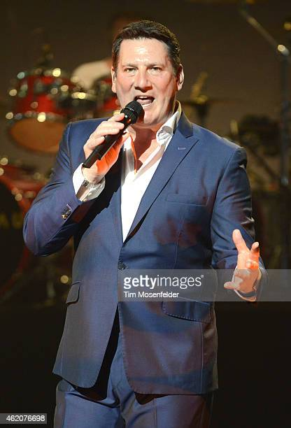 Tony Hadley of Spandau Ballet performs during the opening date of the band's US tour at The Warfield Theater on January 23 2015 in San Francisco...