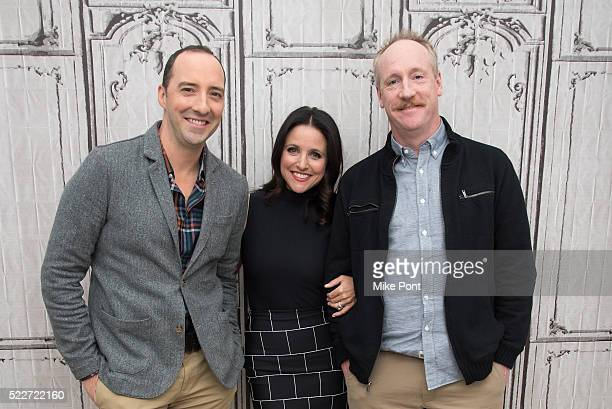 Tony Hale Julia LouisDreyfus and Matt Walsh attend the AOL Build Speaker Series to discuss 'Veep' at AOL Studios In New York on April 20 2016 in New...
