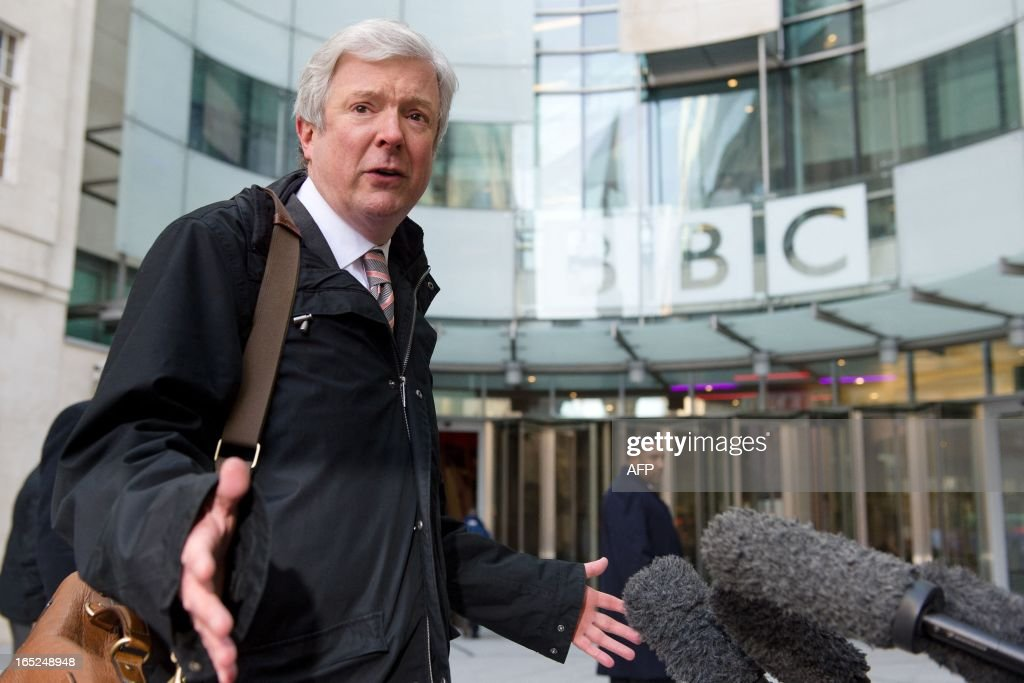 Tony Hall speaks to waiting media as he arrives for his first day as Director General of the BBC at New Broadcasting House in central London on April...