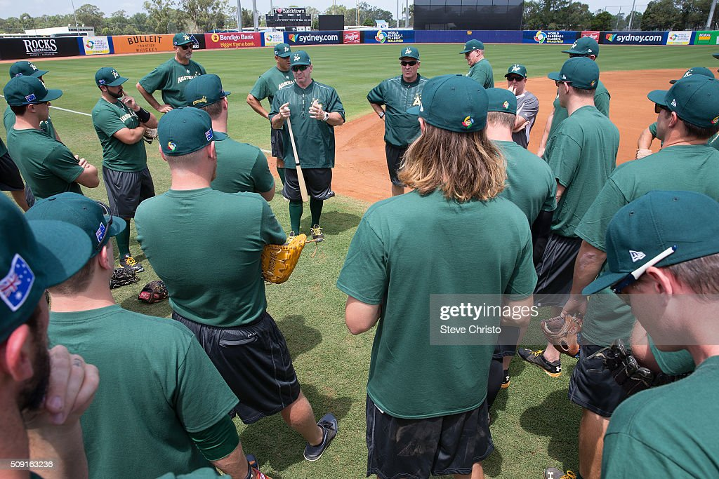 Tony Harris #2 of Team Australia talks to the team prior to the workout for the World Baseball Classic Qualifier at Blacktown International Sportspark on Tuesday, February 9, 2016 in Sydney, Australia.
