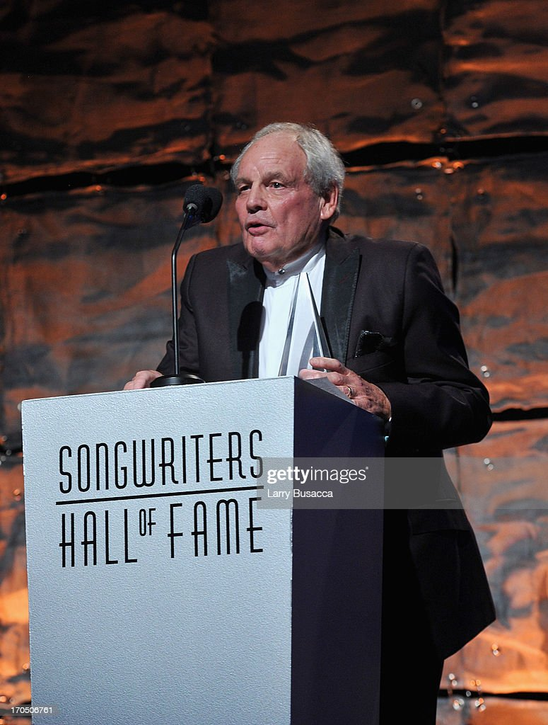 Tony Hatch speaks onstage the Songwriters Hall of Fame 44th Annual Induction and Awards Dinner at the New York Marriott Marquis on June 13, 2013 in New York City.