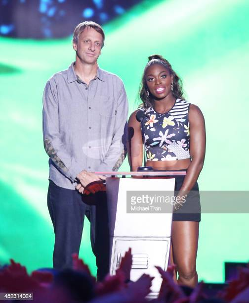 Tony Hawk and Sloane Stephens speak onstage during the Nickelodeon Kids' Choice Sports Awards 2014 held at Pauley Pavilion on July 17 2014 in Los...