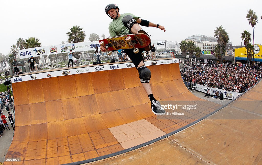 Tony Hawk attends the Sonic Generations of Skate competition presented by SEGA at the Venice Beach Boardwalk on October 22 2011 in Venice California