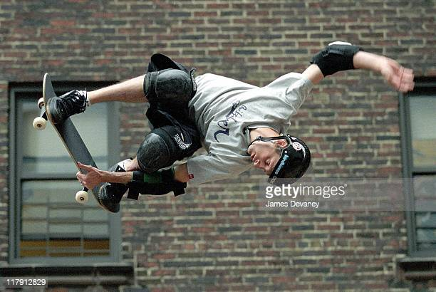 Tony Hawk during Tony Hawk Skating on the 'Late Show with David Letterman' May 9 2006 at Ed Sullivan Theatre in New York City New York United States