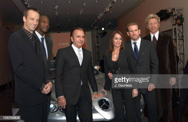 Tony Hawk Edwin Moses Robby Naish Nadia Comaneci Emerson Fittipaldi and Boris Becker pose infront of the MercedesBenz SLR McLaren