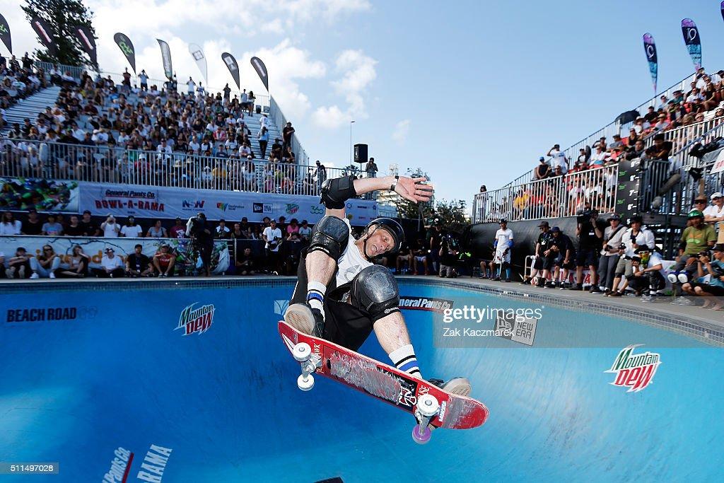 Tony Hawk of United States of America competes in BOWLARAMA at Bondi Beach on February 21 2016 in Sydney Australia BOWLARAMA is Australia's biggest...