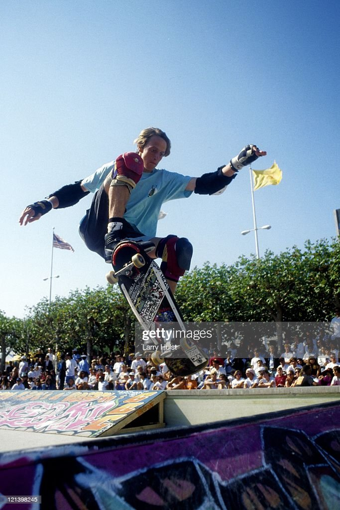 Tony Hawk performs at the Civic Center in San Francisco California on January 1 1984