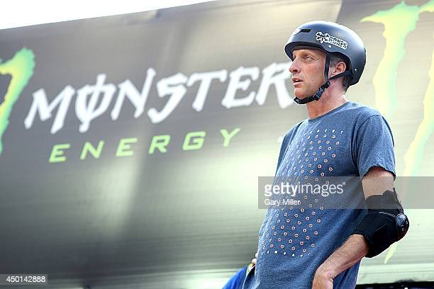 Tony Hawk puts on a skateboard demonstration in front of the Texas Capitol as part of the start of the X Games on June 5 2014 in Austin Texas