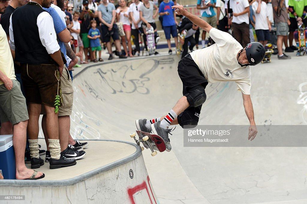 Tony Hawk skates at Hirschgarten on July 22 2015 in Munich Germany