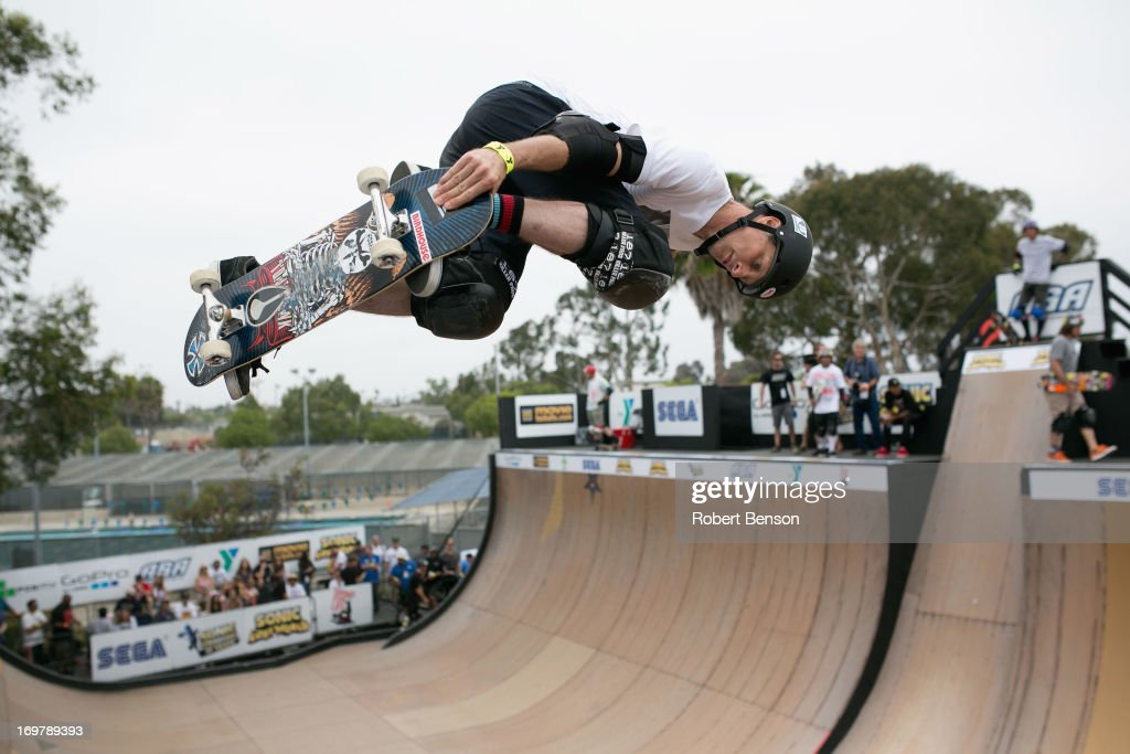 Tony Hawk skates at the Sonic Generations Of Skate at Clairemont Skatepark on June 1 2013 in San Diego California