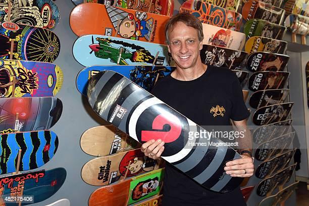 Tony Hawk visits the Boneless Skateshop at Herzogspitalstrasse 7 on July 22 2015 in Munich Germany