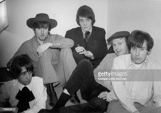 Tony Hicks Graham Nash Allan Clarke Bobby Elliott and Bernie Calvert of the rock band 'The Hollies' pose for a portrait in their hotel room for...