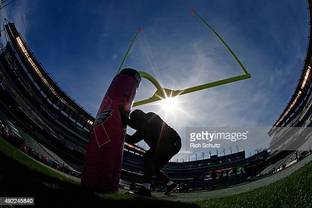 Tony Hills of the New Orleans Saints works out on the field before a football game against the Philadelphia Eagles at Lincoln Financial Field on...