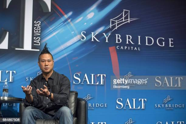 Tony Hsieh chief executive officer of Zapposcom Inc speaks at the Skybridge Alternatives conference in Las Vegas Nevada US on Thursday May 18 2017...