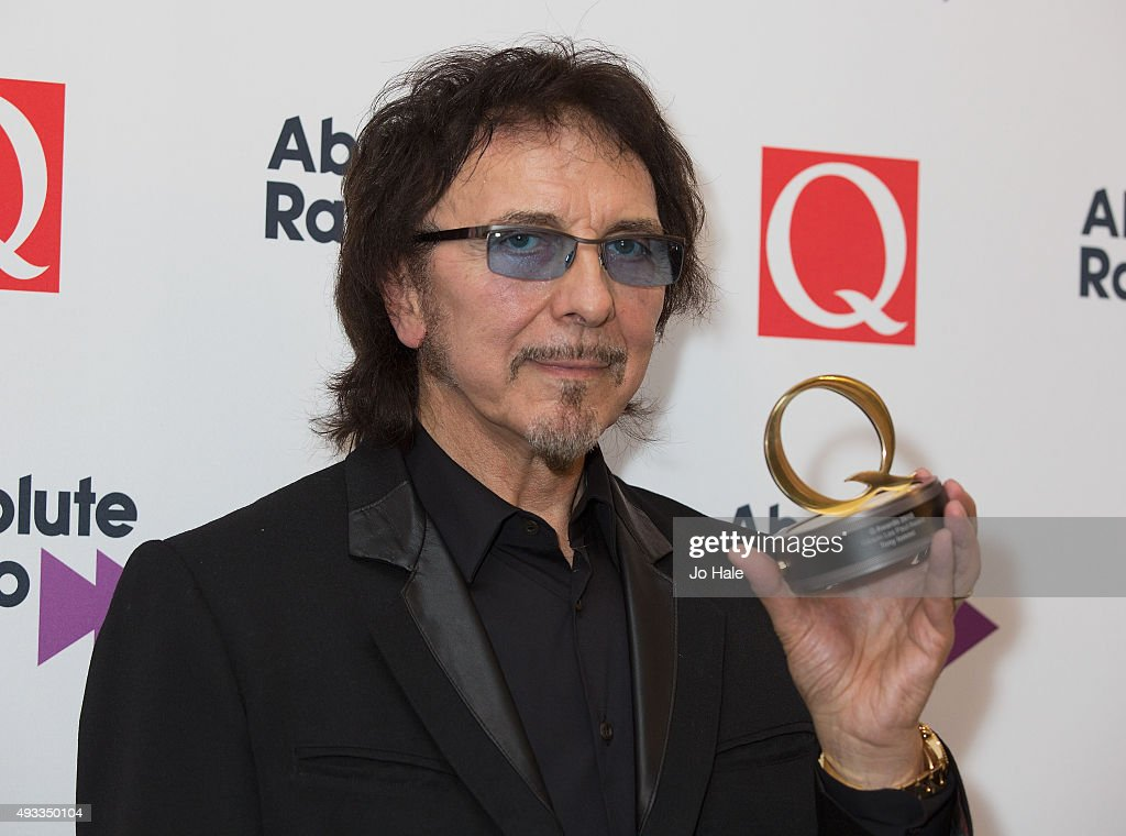 Tony Iommi wins the Gibson Les Paul Award at the Q Awards 2015 at The Grosvenor House Hotel on October 19, 2015 in London, England.