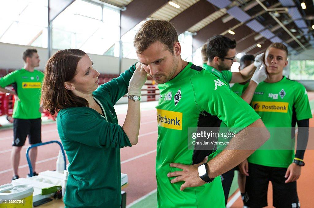 Tony Jantschke of Borussia Moenchengladbach run during a Lactate Test in Duesseldorf on June 28, 2016 in Moenchengladbach, Germany.