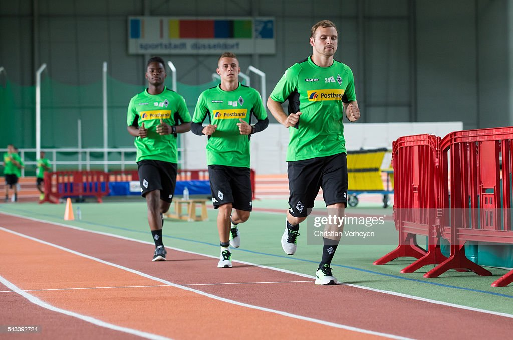 Tony Jantschke, Thorgan Hazard and Ba-Muaka Simakala of Borussia Moenchengladbach run during a Lactate Test in Duesseldorf on June 28, 2016 in Moenchengladbach, Germany.