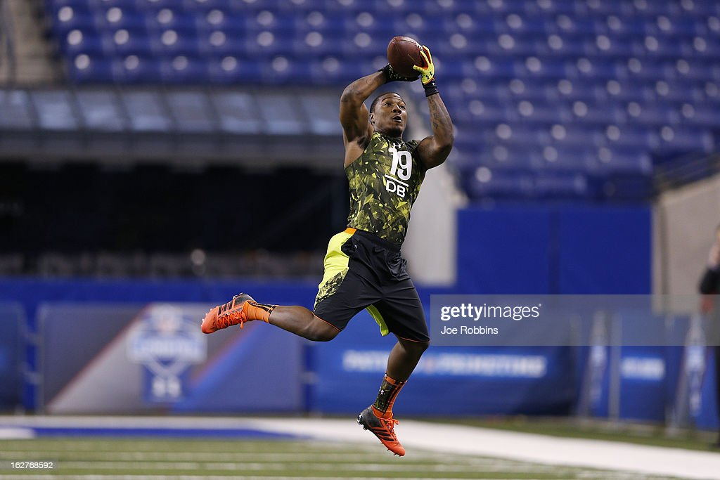 Tony Jefferson of the University of Oklahoma works out during the 2013 NFL Combine at Lucas Oil Stadium on February 26, 2013 in Indianapolis, Indiana.