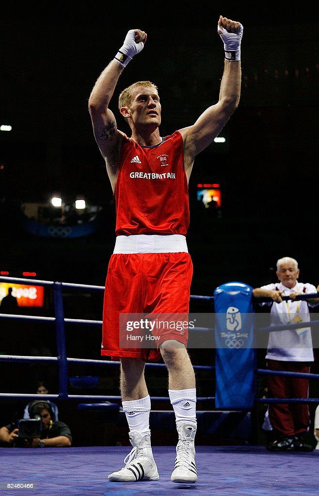 Tony Jeffries of Great Britain celebrates after defeating Imre Szello of Hungary during the 81kg quarterfinal boxing event at the Workers' Indoor...