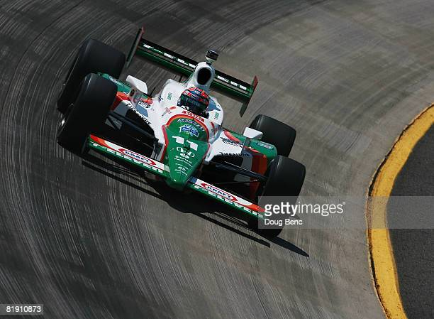 Tony Kanaan drives the Team 7Eleven Andretti Green Racing Dallara Honda during practice for the IRL IndyCar Series Firestone Indy 200 on July 11 2008...