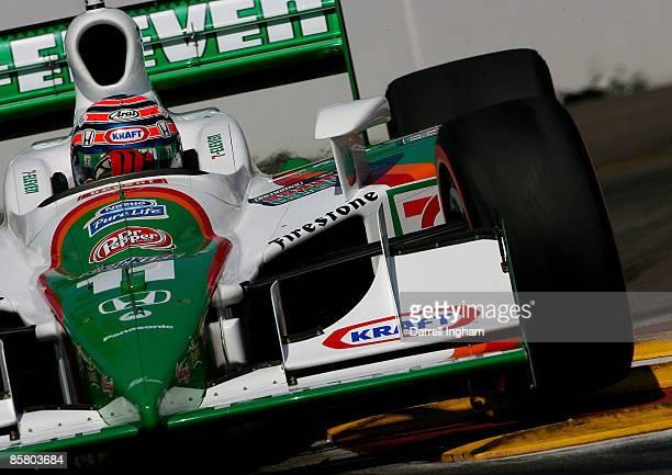 Tony Kanaan drives the Team 7Eleven Andretti Green Racing Dallara Honda during practice for the IRL IndyCar Series Honda Grand Prix of St Petersburg...