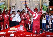 Tony Kanaan of Brazil and driver of the Target Chip Ganassi Racing Dallara Chevrolet celebrates after winning the Verizon IndyCar Series MAVTV 500...