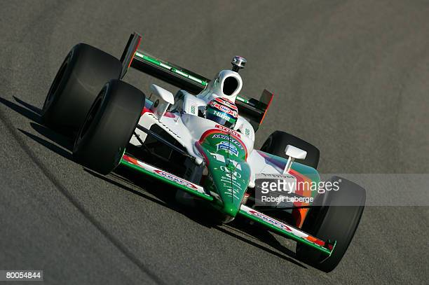 Tony Kanaan of Brazil driver of the Andretti Green Racing Dallara Honda participates in testing for the IndyCar Series at the HomesteadMiami Speedway...