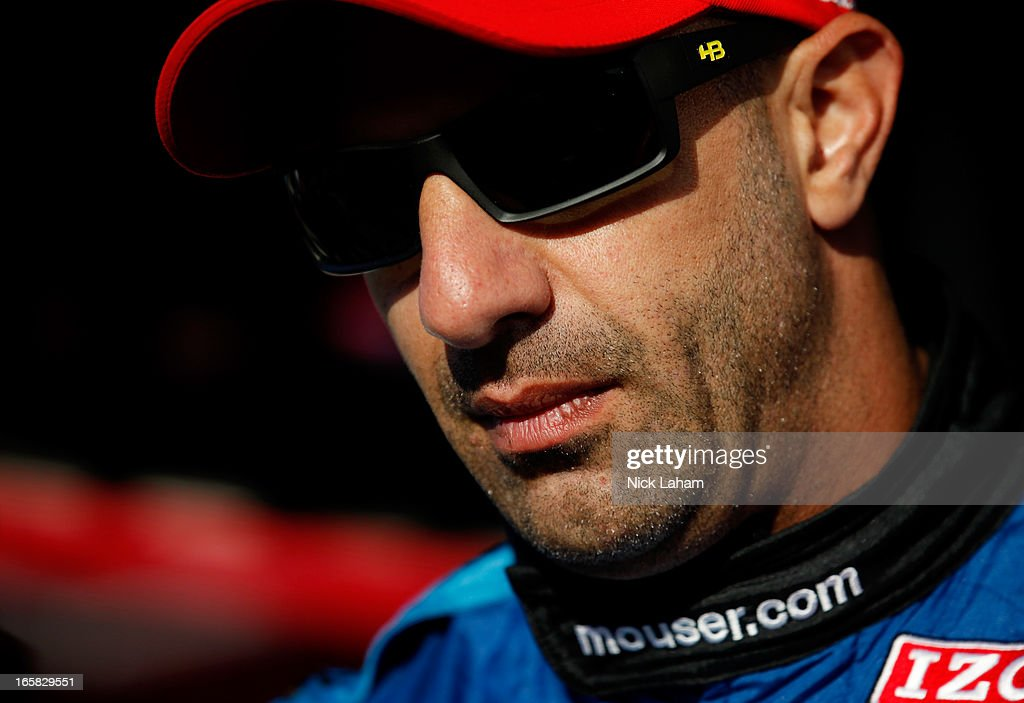Tony Kanaan of Brazil, driver of the #11 KV Racing Technology Chevrolet in his pit box during practice for the Honda Indy Grand Prix of Alabama at Barber Motorsports Park on April 6, 2013 in Birmingham, Alabama.