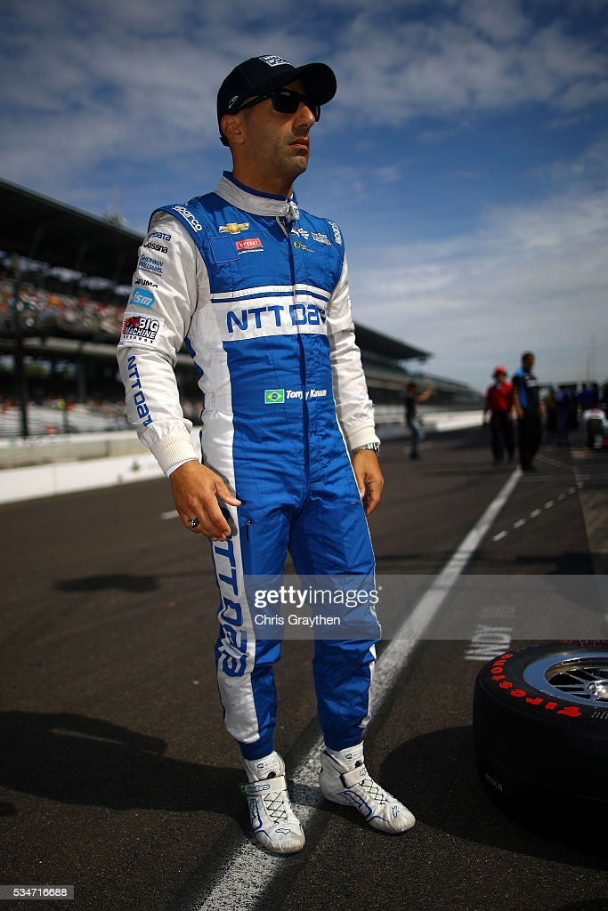 Tony Kanaan of Brazil, driver of the #10 NTT Data Chevrolet prepares to practice on Carb Day ahead of the 100th running of the Indianapolis 500 at Indianapolis Motorspeedway on May 27, 2016 in Indianapolis, Indiana.