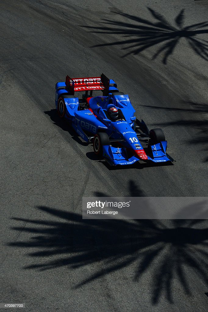 <a gi-track='captionPersonalityLinkClicked' href=/galleries/search?phrase=Tony+Kanaan&family=editorial&specificpeople=171962 ng-click='$event.stopPropagation()'>Tony Kanaan</a> of Brazil driver of the #10 NTT Data Chip Ganassi Racing Chevrolet Dallara during the Verizon IndyCar Series Toyota Grand Prix of Long Beach on April 19, 2015 on the streets of Long Beach, California.