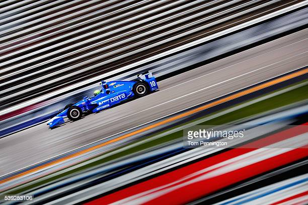 Tony Kanaan of Brazil driver of the NTT Data Chip Ganassi Racing Chevrolet practices for the Verizon IndyCar Series Firestone 600 at Texas Motor...