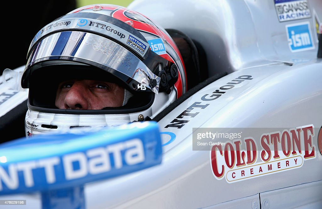 <a gi-track='captionPersonalityLinkClicked' href=/galleries/search?phrase=Tony+Kanaan&family=editorial&specificpeople=171962 ng-click='$event.stopPropagation()'>Tony Kanaan</a> of Brazil, driver of the #10 NTT Data Chip Ganassi Racing Chevrolet, prepares to drive during NTT DATA qualifying for the Verizon IndyCar Series Firestone 600 at Texas Motor Speedway on June 5, 2015 in Fort Worth, Texas.