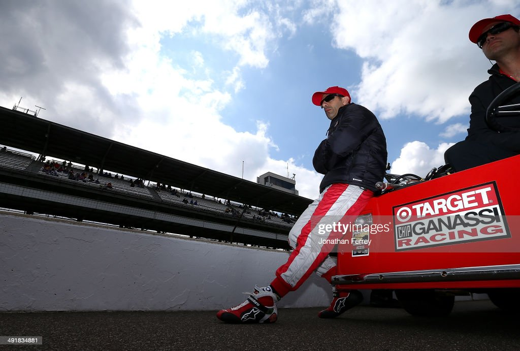 Tony Kanaan of Brazil, driver of the #10 Target Chip Ganassi Racing Chevrolet Dallara waits to qualify for the 98th Indianapolis 500 Mile Race on May 17, 2014 at the Indianapolis Motor Speedway in Indianapolis, Indiana.