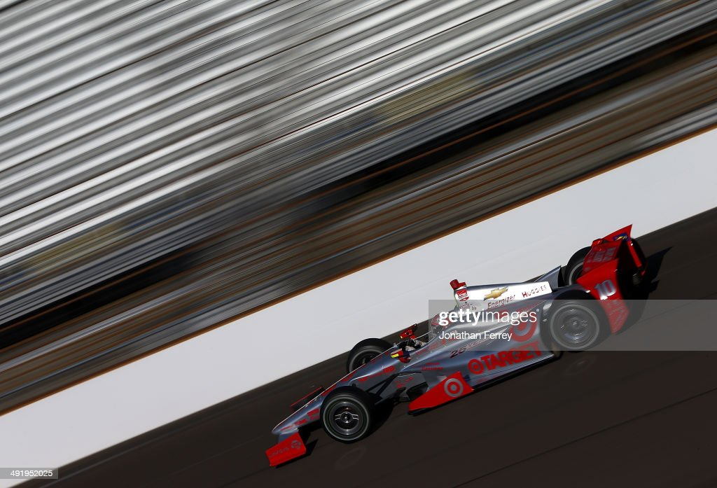 Tony Kanaan of Brazil, drives his #10 Target Chip Ganassi Racing Chevrolet Dallara during practice for the 98th Indianapolis 500 Mile Race on May 17, 2014 at the Indianapolis Motor Speedway in Indianapolis, Indiana.